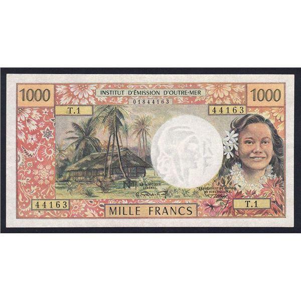 "TAHITI 1000 Francs. 1969. WITHOUT ""REPUBLIQUE FRANCAISE"". Sig Postel Vinay-Clappier"