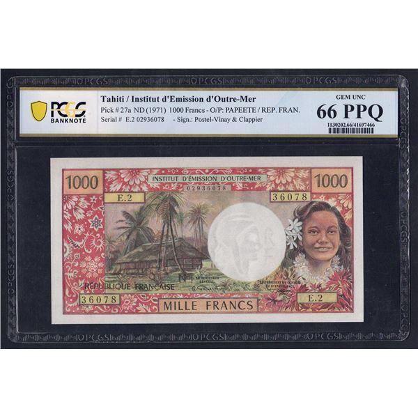 "TAHITI 1000 Francs. 1971. WITH ""REPUBLIQUE FRANCAISE"". Sig Postel Vinay-Clappier"