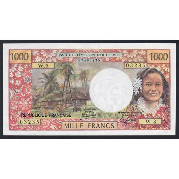 TAHITI 1000 Francs. 1983. Sig Rolland Billecart-Lefort. SCARCER SIGNATURE VARIETY