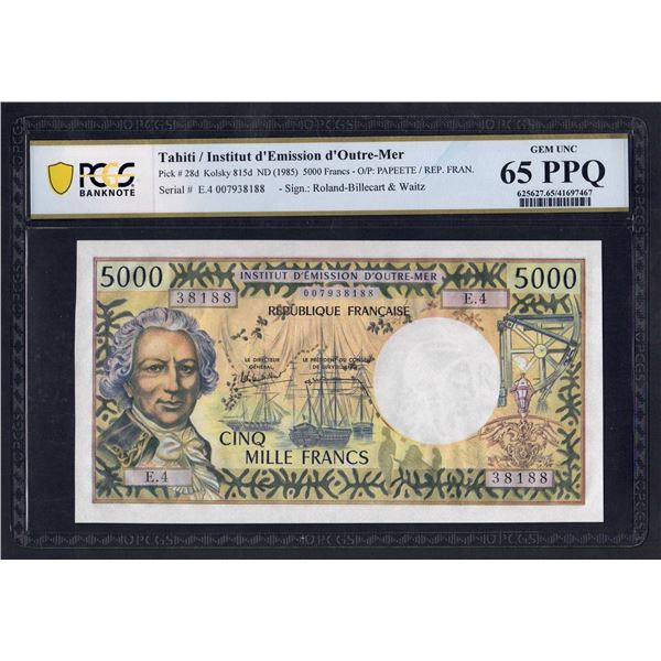 TAHITI 5000 Francs. 1985. Sig Rolland Billecart-Waitzenegger