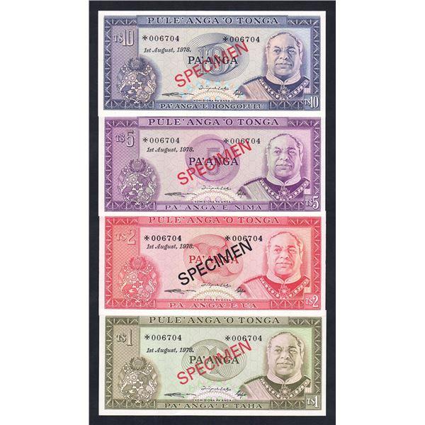 TONGA 1, 2, 5 & 10 Pa'anga. 1978. SPECIMEN SET OF 4
