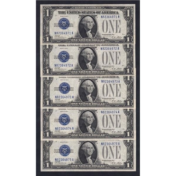 USA Silver Certificate. 1 Dollar. 1928A. Sig Woods-Mellon. CONSECUTIVE RUN OF 5