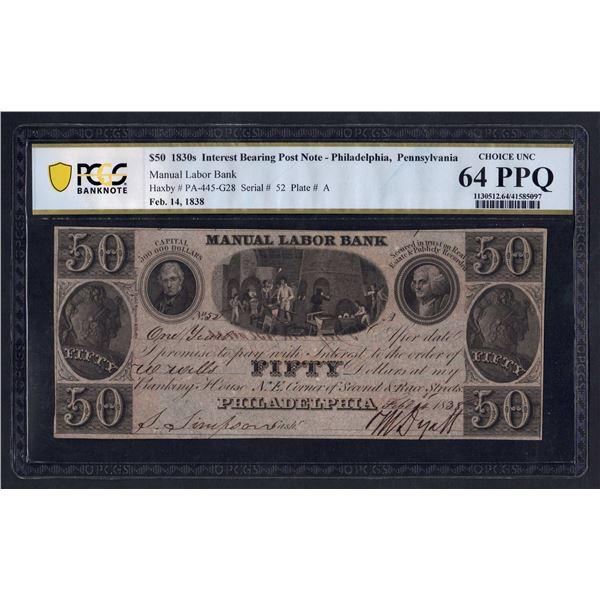 USA Manual Labor Bank. 50 Dollars. 14.2.1838. Philadelphia. SUPERB GRADE!