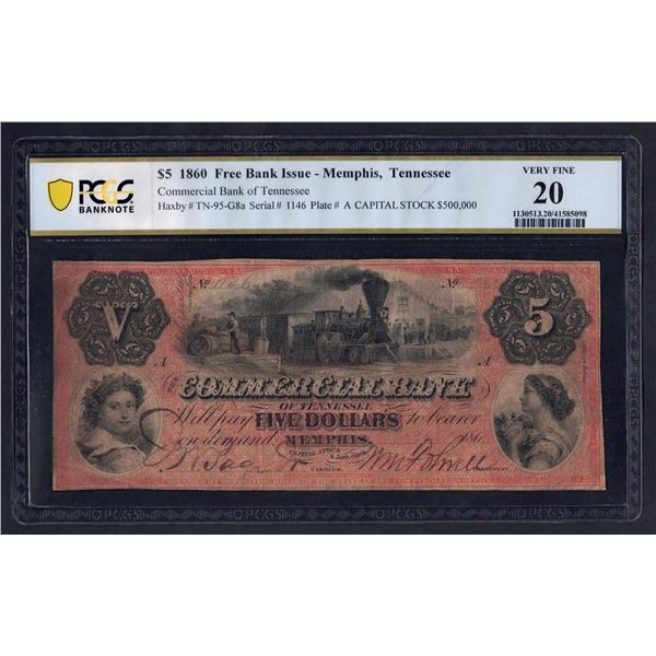 USA Commercial Bank of Tennessee. 5 Dollars. 1.1.1860. Memphis. RARE ISSUE!