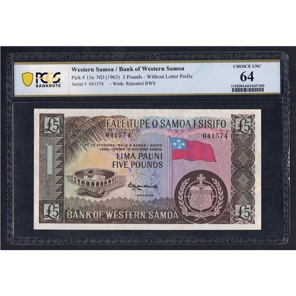 WESTERN SAMOA 5 Pounds. 1963. Sig Maitland. NO PREFIX LETTER