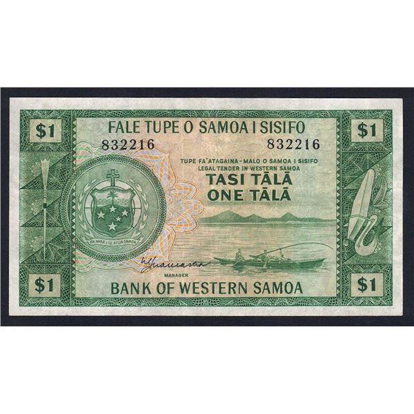 WESTERN SAMOA 1 Tala. 1967. Sig Lancaster. NO PREFIX LETTER. 6 Digit Serial No