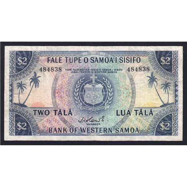 WESTERN SAMOA 2 Tala. 1967. Sig Rowe. NO PREFIX LETTER. 6 Digit Serial No