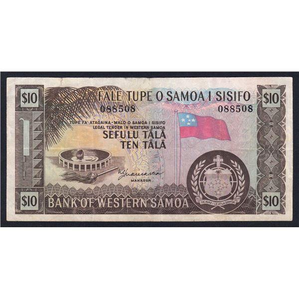 WESTERN SAMOA 10 Tala. 1967. Sig Lancaster. NO PREFIX LETTER