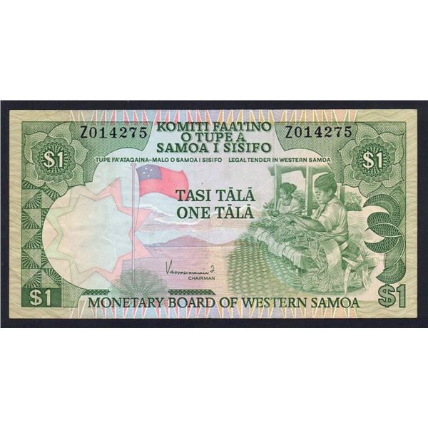 "WESTERN SAMOA 1 Tala. 1980. Sig Vaovasamanaia. RARE PREFIX ""Z"" REPLACEMENT"