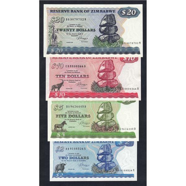 ZIMBABWE 2, 5, 10 & 20 Dollars. 1983. Harare. Sig Moyana. DATE/SIGNATURE SET OF 4
