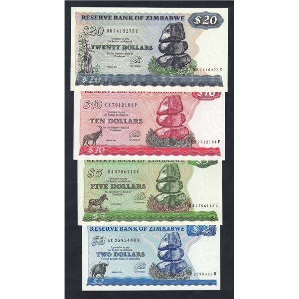 ZIMBABWE 2, 5, 10 & 20 Dollars. 1994. Harare. Sig Tsumba. DATE/SIGNATURE SET OF 4