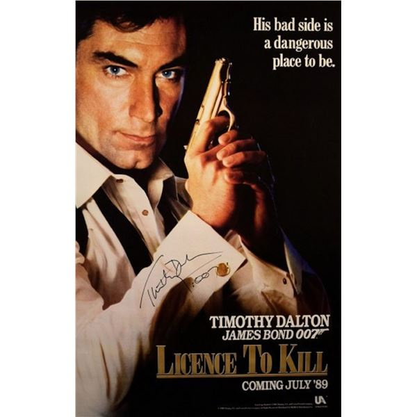 James Bond in License to Kill signed movie poster