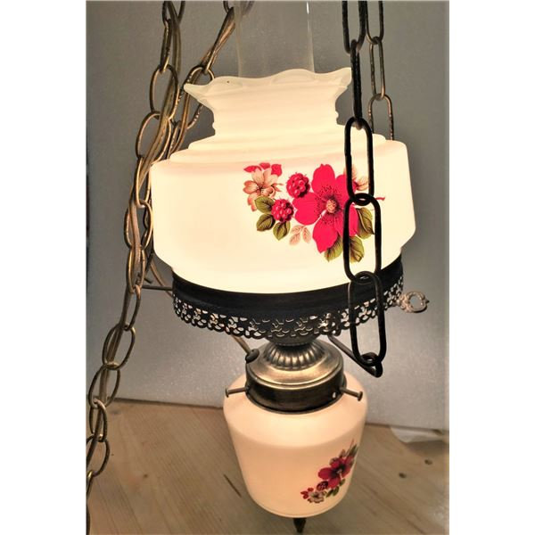 Milk Glass - Hanging Hurricane Lamp, Tested and Works