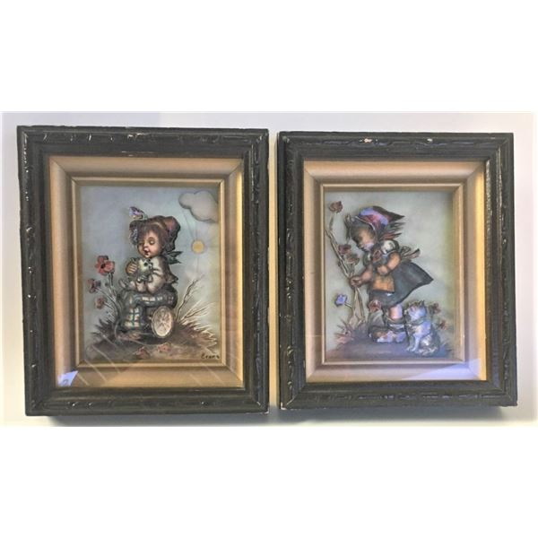"""Three Dimensional Paper Artwork - Signed by Evans, Children and Cats, 6.25"""" x 7.25"""" Each Frame"""