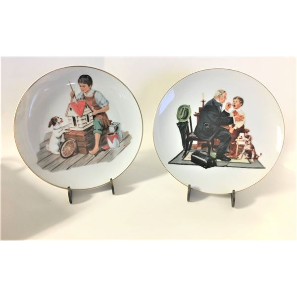 """TWO 6.5"""" Decorative Plates """"Dollhouse for Sis"""" & """"Country Doctor""""  Art Inspired by Norman Rockwell"""