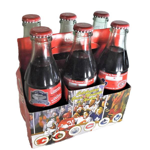 SIX Celebrating Great Moments in Hockey Coke-Cola Bottles and Case - Toronto Maple Leafs