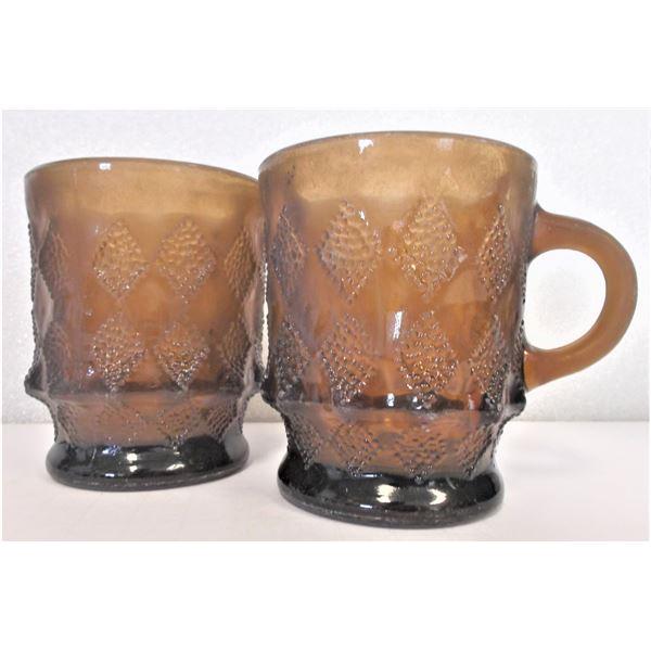 Two Anchor Hocking Mugs Brown