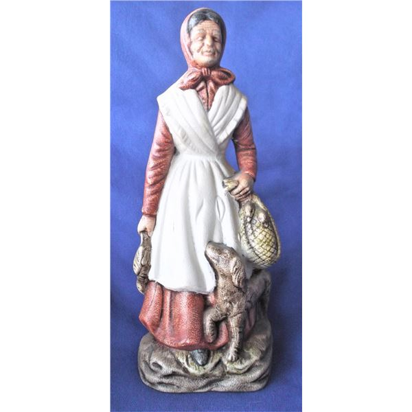 Peasant Woman with Dog Statue