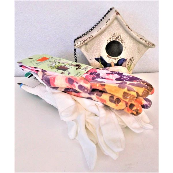 Decorative Bird House and FOUR Pairs of Ladies Gardening Gloves