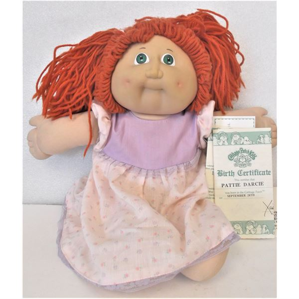 Vintage Cabbage Patch Doll - 1985 - Girl with Red Yarn Hair - WITH Birth Certificate