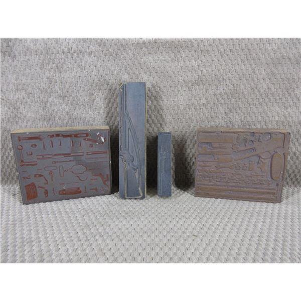4 - Vintage Printing Plates of Guns & Parts Diagrams