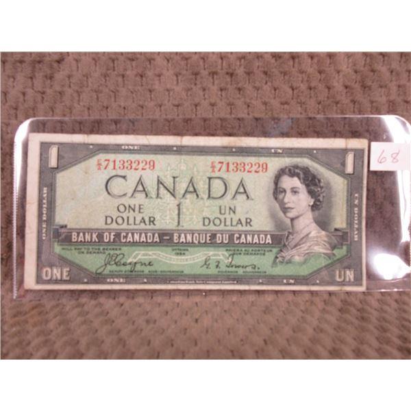 1954 Canada One Dollar Bill - Devils Face