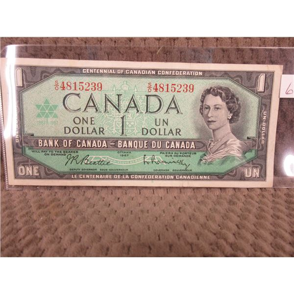 1967 Canada Centenial Dollar Bill with Serial Number