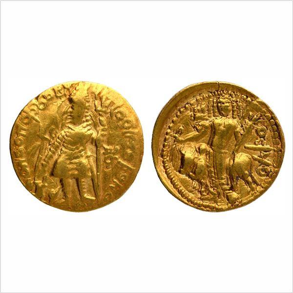 """Kushan Dynasty, Vasudeva I, Gold Dinar, """"OESHO"""" (Shiva) type, 7.61g"""