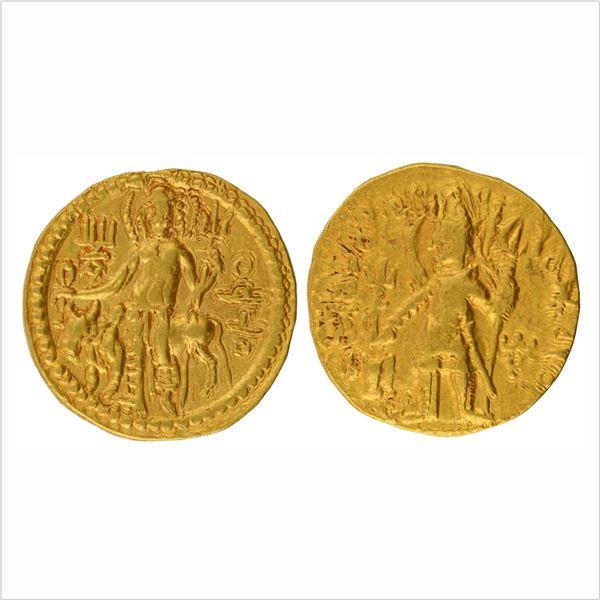 """Kushan Dynasty, Vasudeva I,Gold Dinar, """"OESHO"""" (Shiva)Type, 7.9g"""