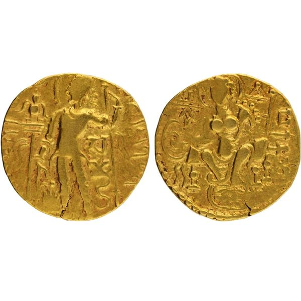 "Gupta Dynasty, Samudragupta, Gold Dinar, ""Scepter/Standard"" type, Large flan, 7.8g"
