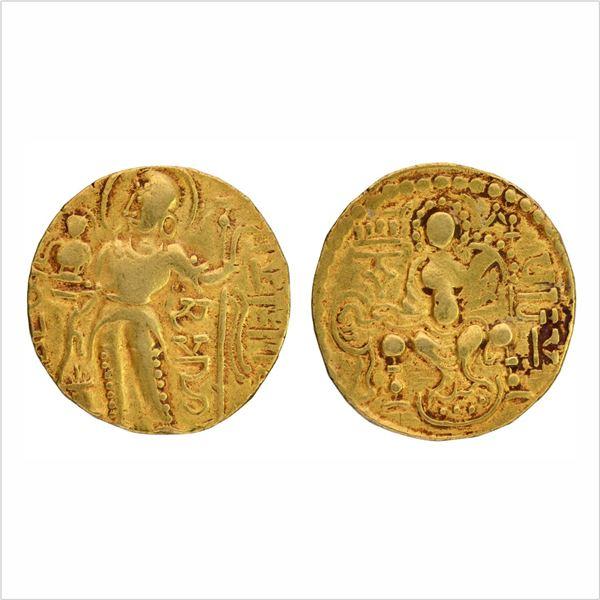 "Gupta Dynasty, Samudragupta,Gold Dinar, ""Scepter/Standard"" type,Large flan,7.6g"