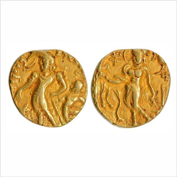 "Gupta Dynasty, Chandragupta II, Gold Dinar, ""Chhatra (Parasol)"" type, 7.12g"
