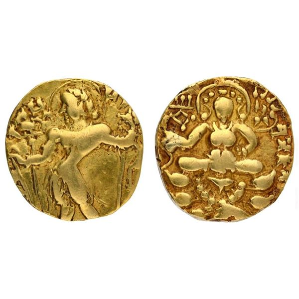 "Gupta Dynasty, Kumaragupta I, Gold Dinar,""Archer"" type, Without 'Ku', 7.97g"