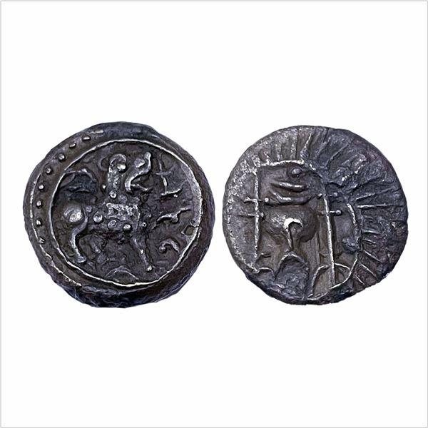 Vishnukundin Dynasty, (AD 450-615). Copper base Alloy Unit, Vidarbha Region, 8.48g