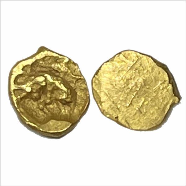 Chalukyas of Kalyana, Gold Uniface Fanam, 0.43g