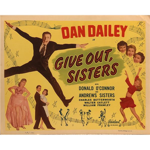 Give Out, Sisters original 1949R vintage lobby card