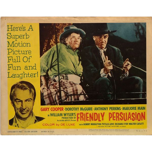 Friendly Persuasion 1961R Original Vintage Lobby Card