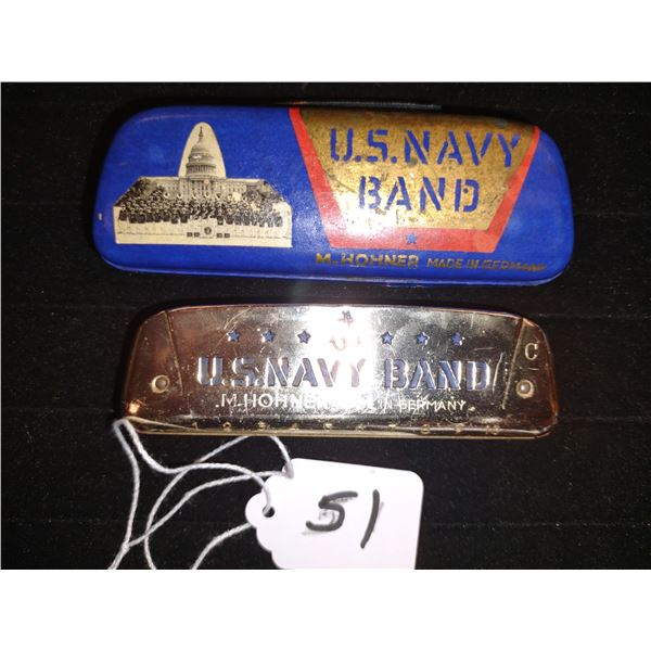 RARE ANTIQUE U.S. NAVY BAND M, HOHNER HARMONICA IN ORIGINAL CASE, MADE IN GERMANY