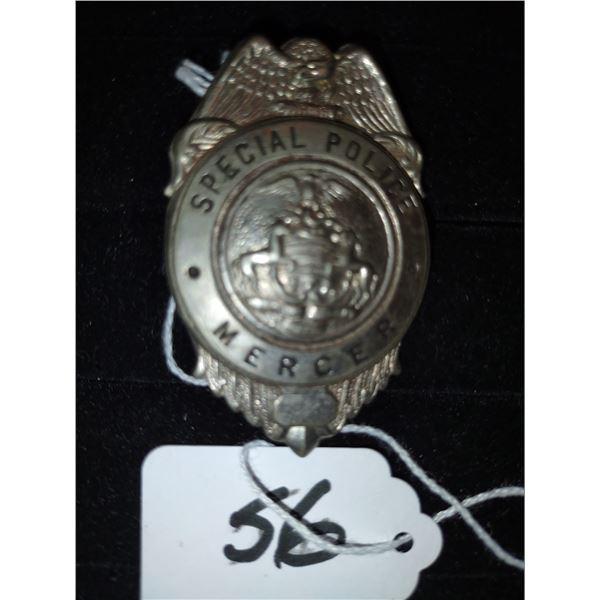 ANTIQUE SPECIAL POLICE BADGE, MERCER PENNA