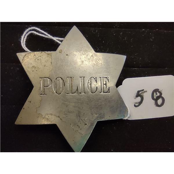 ANTIQUE 6 POINT STAR POLICE BADGE, CIRCA 1900