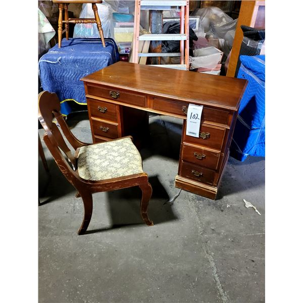 VINTAGE MAHOGANY DESK W/ UPHOLSTERED CHAIR