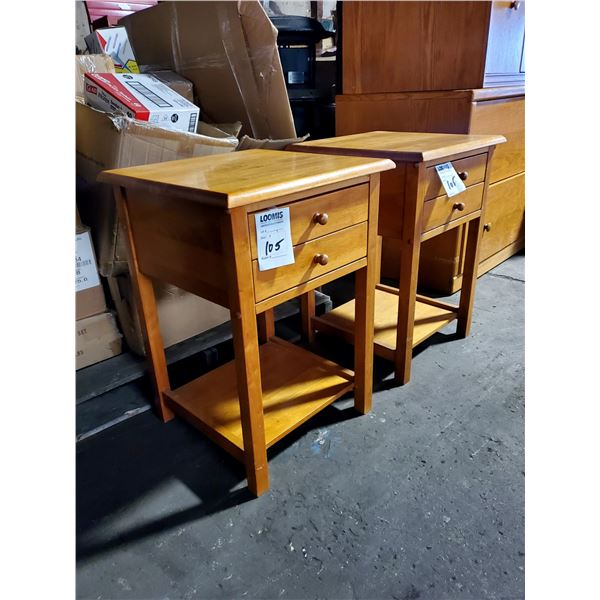 VINTAGE PAIR OF 2 DRAWER MAPLE END TABLES