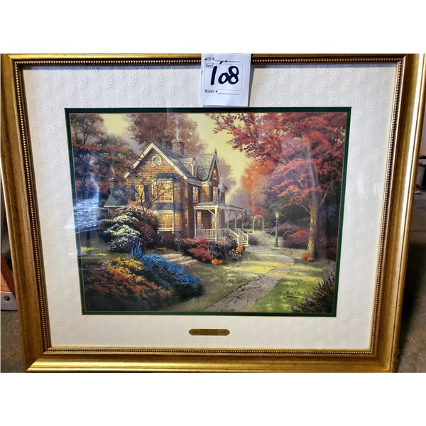 """BEAUTIFUL """"VICTORIAN AUTUMN"""" BY THOMAS KINKADE, FRAMED, SIGNED AND NUMBERED"""