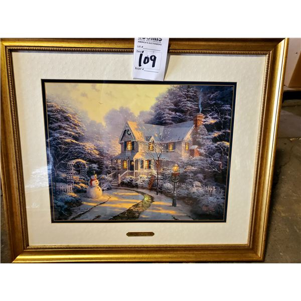 """BEAUTIFUL """"THE NIGHT BEFORE CHRISTMAS"""" BY THOMAS KINKADE, FRAMED, SIGNED AND NUMBERED"""