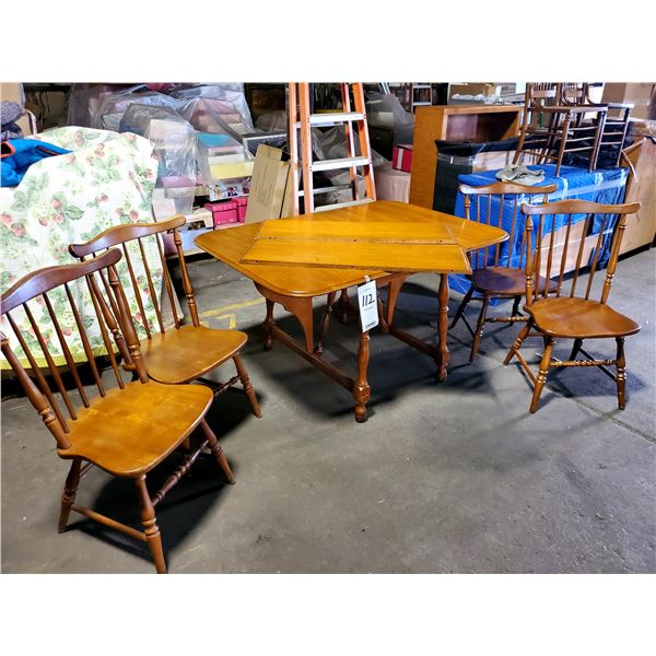 NICE VINTAGE 6 PC MAPLE DROP LEAF DINETTE W/ BUTTERFLY BASE, 4 CHAIRS, 2 BOARDS