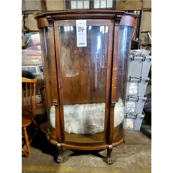"""ANTIQUE BOW GLASS ONE DOOR CHINA CABINET, 66"""" X 44"""", 2 DAMAGED FEET"""