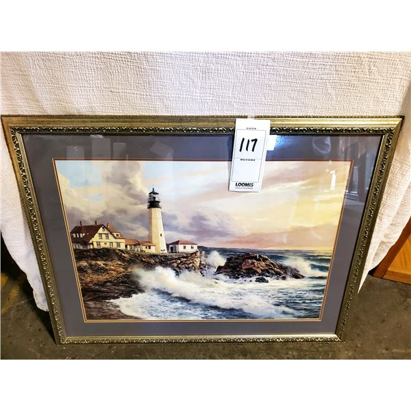 """BEAUTIFUL FRAMED ARTWORK """"LIGHTHOUSE SEASCAPE"""", SIGNED BY A. MARKOVICH"""