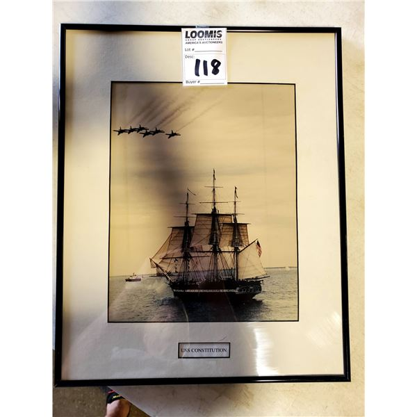 """FRAMED PHOTOGRAPH OF THE """"USS CONSTITUTION"""" W/ BLUE ANGELS FLY OVER BOSTON HARBOR"""