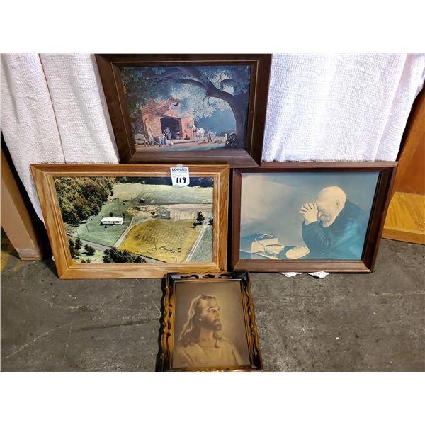 4 VINTAGE FRAMED ART LOT