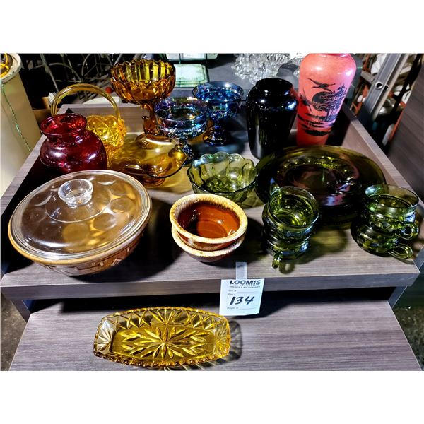 20 PCS OF MOONSTONE GLASS, COOKWARE, AND OTHER
